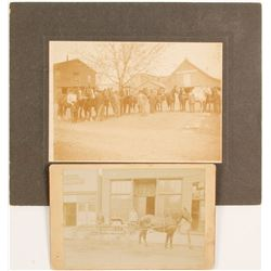 Cabinet Cards Stable Hands & Horses & Horse Drawn Cart