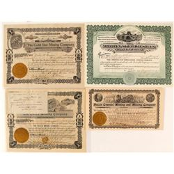 Four Mohave Mining Company Stock Certificates