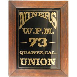 Western Federation of Miners Reverse Glass Sign