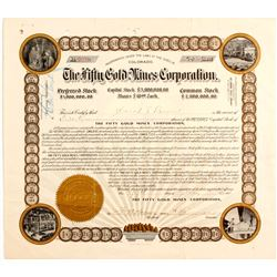 MAGNIFICENT Fifty Gold Mines Stock Certificate