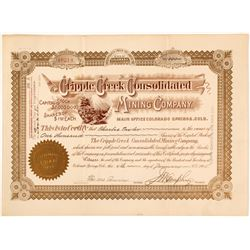 The Cripple Creek Consolidated Mining Company Stock Certificate, 1905
