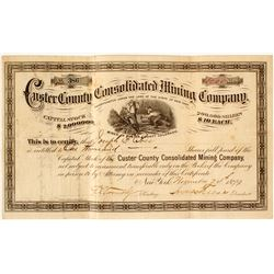 Custer County Consolidated Mining Company Stock Certificate, 1879