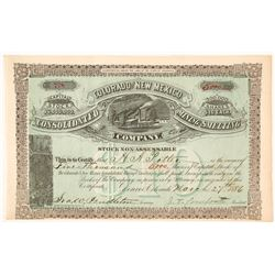 The Colorado & New Mexico Cons. Mining & Smelting Co. Stock Certificate, 1886
