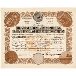 The Square Deal Mining, Milling, Drainage Tunnel & Transportation Co. Stock Certificate, 1912