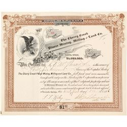 Cherry Creek Placer Mining, Milling & Land Co. Stock Certificate, 1896