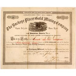 Buckeye Placer Gold Mining Co. Stock Certificate, Spearfish, D.T., 1886