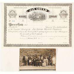 Jay Gould Mining Company Stock Certificate & Real Photo Postcard