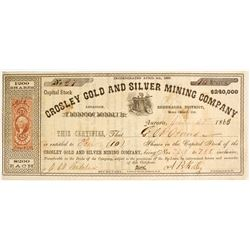 Crosley Gold and Silver Mining Company Stock with an Aurora Dateline