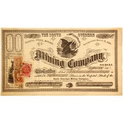 South Overman Mining Company Stock with RARE 25c Nevada Revenue Stamp!