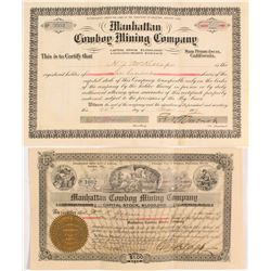 Two Different Manhattan Cowboy Mining Co. Stock Certificates