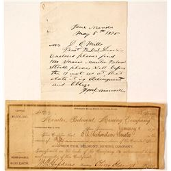 Monitor, Belmont, Mining Company Stock with note to D O Mills