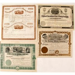 Four Different Mexican Mining Stock Certificates