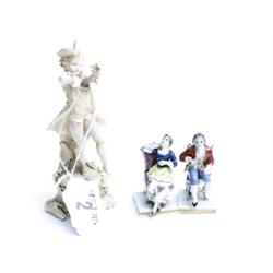 2 miniature Dresden figures and small bisque piper