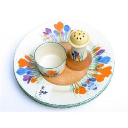 3 Clarice Cliff Bizarre Crocus pattern tea plates, egg cup and pepper pot with rubbed markings
