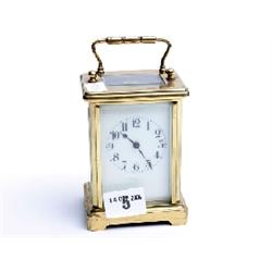 "Gilt and enamel face carriage clock, French maker, 6"" high"