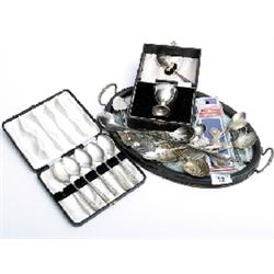 Oval tray with cased plated Christening set, various plated spoons
