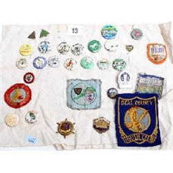 Collection of old travelling enamel and cloth badges