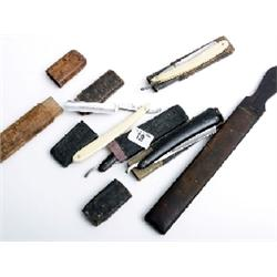 4 bone and bakalite cut throat razors and strop