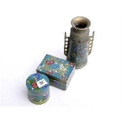 Painted enamel trinket box, lidded pot and oriental painted vase