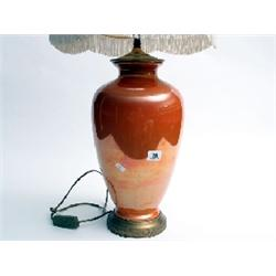 Orange lustre table lamp