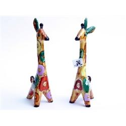 "Pair hand painted Russian stamped pottery giraffes 12"" high"