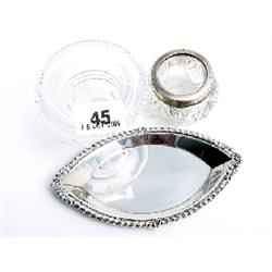Irish glass salt cellar - another with hallmarked silver rim, & Birmingham 1979 silver trinket tray