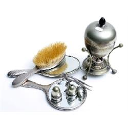 Collection silver hallmarked brushes, bottles, compact etc.