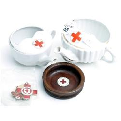 Red Cross in silver gilt metal & 2 feeder cups and wooden coaster
