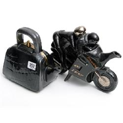2 novelty tea pot 'Tea Bag' and 'Black Motorcycle' by R Parrington