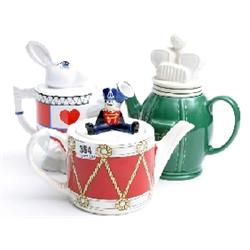 3 Wade tea pots 'Drummer Boy 'No 2 Golf' and 'White Rabbit'