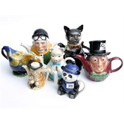7 x Tony Wood Studio tea pots to include cockerel, Lester Piggot, and Mad Hatter