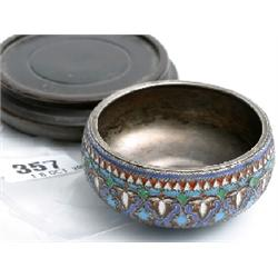 Silver gilt (gilt rubbed) and cloisonné enamel bowl by Ivan Khlebnikor dated 1885