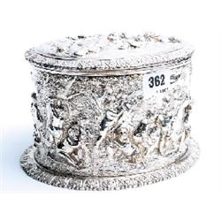 "Silver on copper lidded pot with relief decoration of cherubs 5x8"" unmarked"