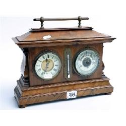Turn of the century pagoda shaped walnut mantle clock, clock movement changed with original supplied