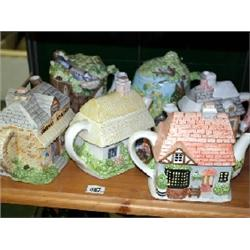 6 x 'The Village' collection tea pots