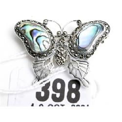 Silver and marquisette butterfly brooch with mother or pearl wings