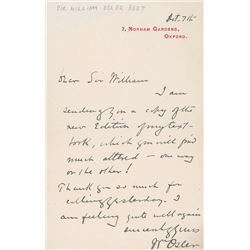 William Osler Autograph Letter Signed