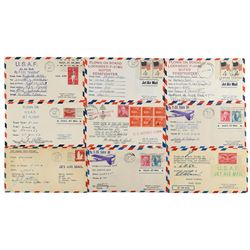 Flown Jet Mail Covers Group of (9)