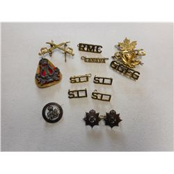 ASSORTED MILITARY SHOULDER TITLES & PINS