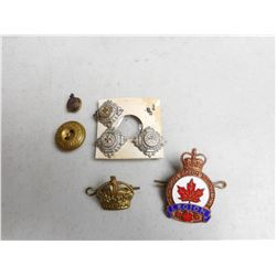 CANADIAN LEGION CAP BADGE, ASSORTED BUTTONS PIN & PIPS