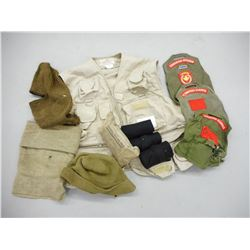 ASSORTED MILITARY PIECES AND SHOOTERS VEST