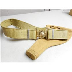 ROYAL CANADIAN ARMY PAY CORPS BELT WITH BUCKLE & WWII HOLSTER
