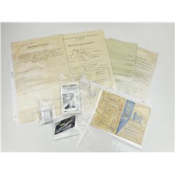 ASSORTED GERMAN CIVILIAN & MILITARY DOCUMENTS/ITEMS
