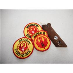 RUGER WOODEN GRIP & BADGES/PATCHES