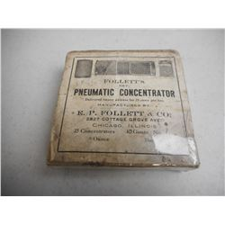 EMPTY ANTIQUE FOLLETTS PNEUMATIC CONCENTRATOR BOX