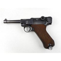 WWII ERA RARE POLICE ISSUE, LUGER , MODEL: P08 BANNER MAUSER , CALIBER: 9MM LUGER