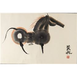 HAN MEILIN Chinese Horse Watercolor and Ink