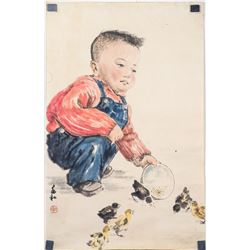 JIANG ZHAOHE Chinese 1904-1987 Watercolor and Ink