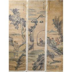 Set of Three Chinese Watercolor Scroll Paintings