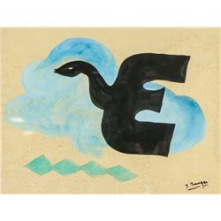 French Surealist Gouache Signed Georges Braque